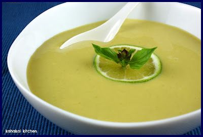Creamy Lime and Coconut Edamame Soup: Edamame (green soy beans) apparently are yummy in this soup, but can substitute for broccolli or other veges if don't have.