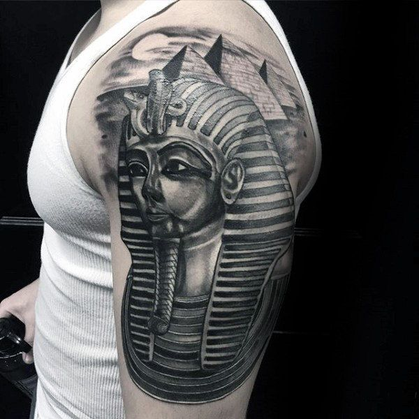 King Tut With The Great Pyramids Mens Half Sleeve Tattoos ...