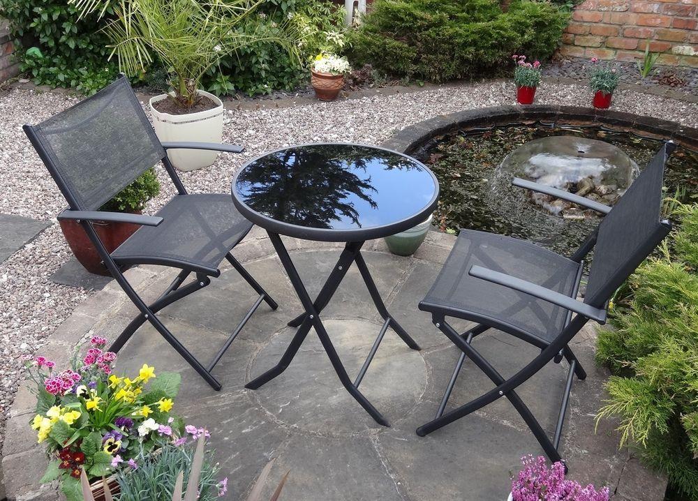 Furniture   Garden Furniture Set Bistro. Garden Furniture Set Bistro Metal Black Metal Steel Glass Patio