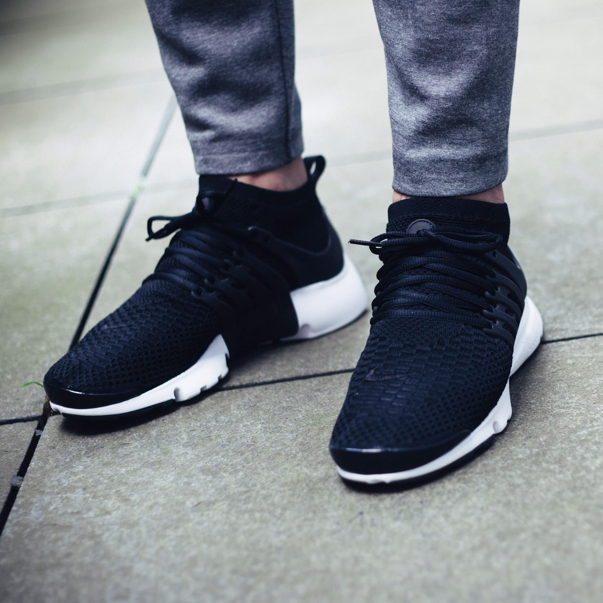 Keep It Stealth With The Nike Air Presto Flyknit Ultra Black Kicksonfire Com Nike Air Shoes All Nike Shoes Classy Shoes