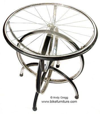Bike Wheel Tables Recycled Furniture, Recycled Bike Furniture