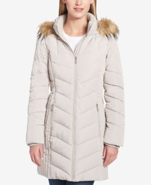 4ee9774b0 Tommy Hilfiger Petite Faux-Fur-Trim Chevron-Quilted Puffer Coat ...