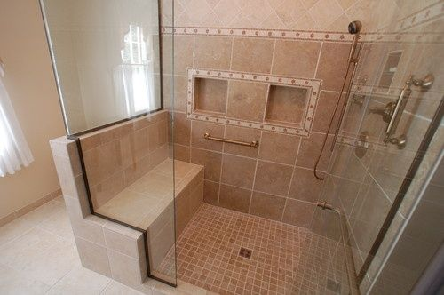 shower stalls with seats built in | Spaces Built In Shower Seat ...