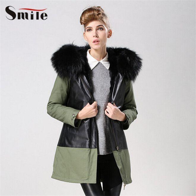 Natural lujo chaquetas Para piel mujer de de cuello de caliente OccSUWR