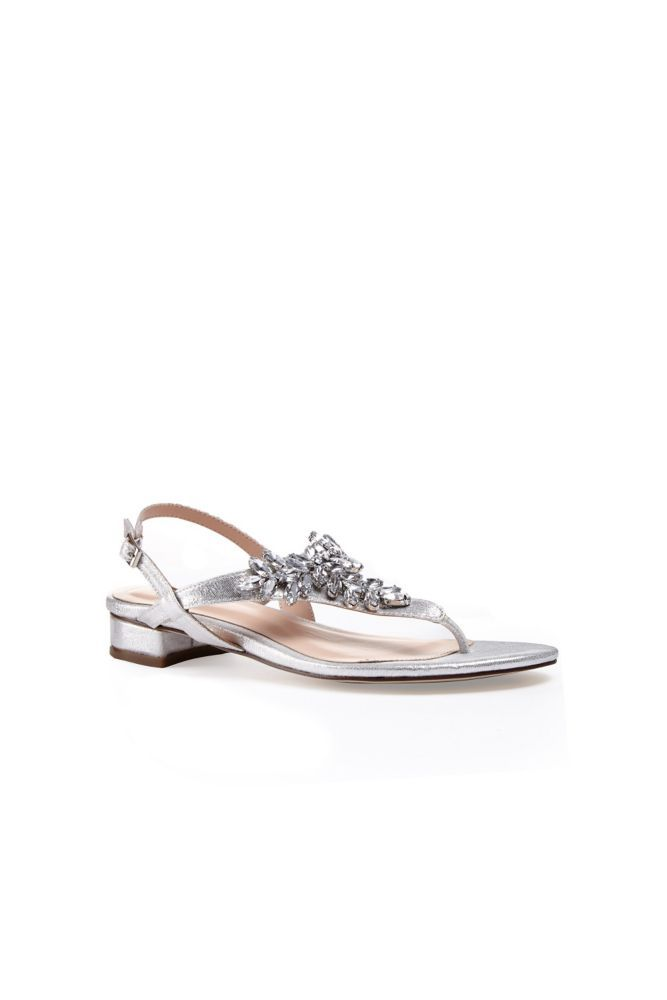 f95c08989 Glitter Thong Sandals with Low Block Heel - Silver