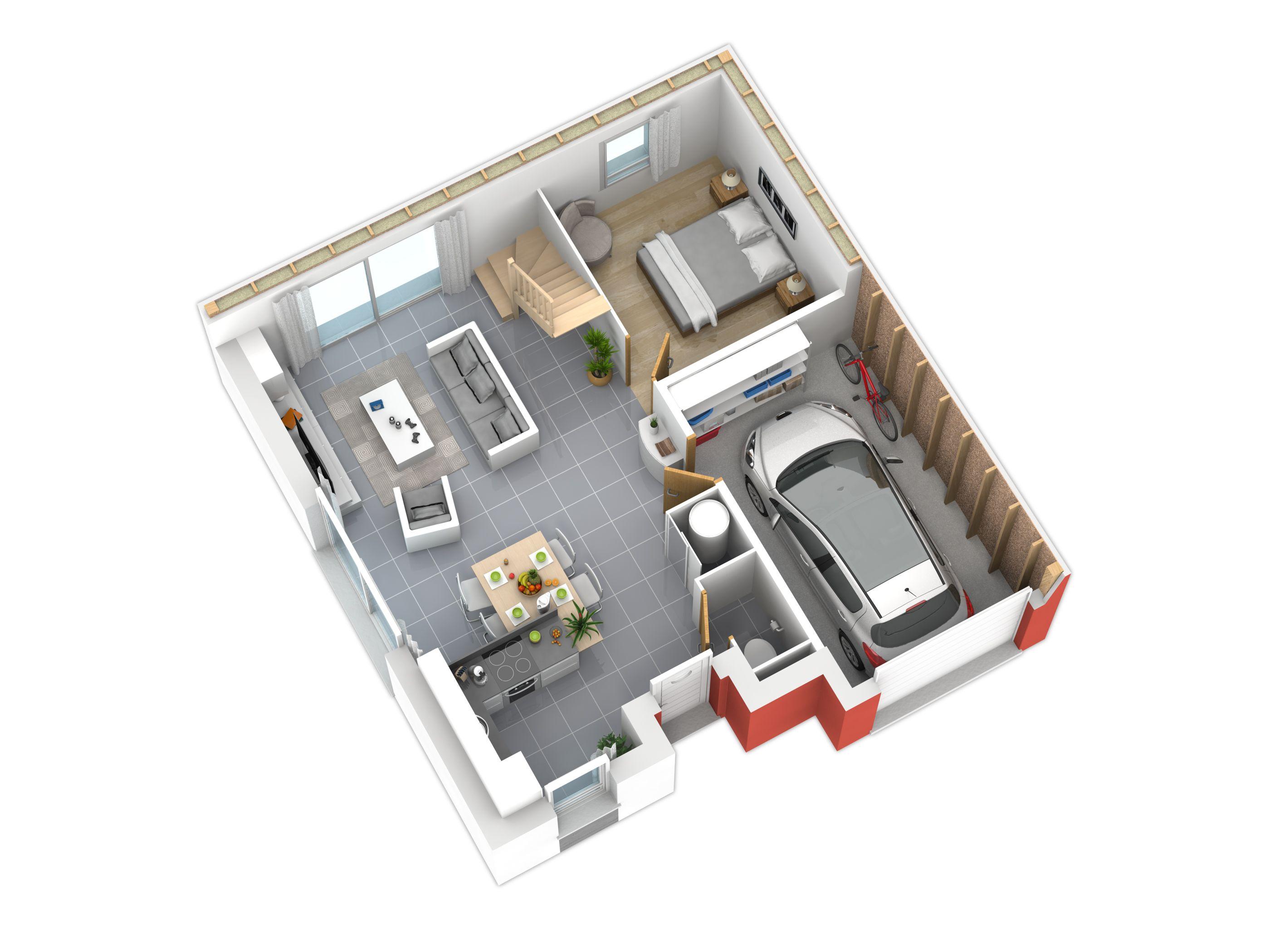 Plan natiming rez de chauss e plans int rieurs en 2019 plan maison bois plan maison - Plan de maison rez de chaussee ...