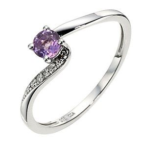 9ct White Gold Diamond Amethyst Twist Ring Product Number