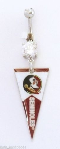 Belly Ring College Florida State Seminoles Pennant Dangle Naval Body Jewelry