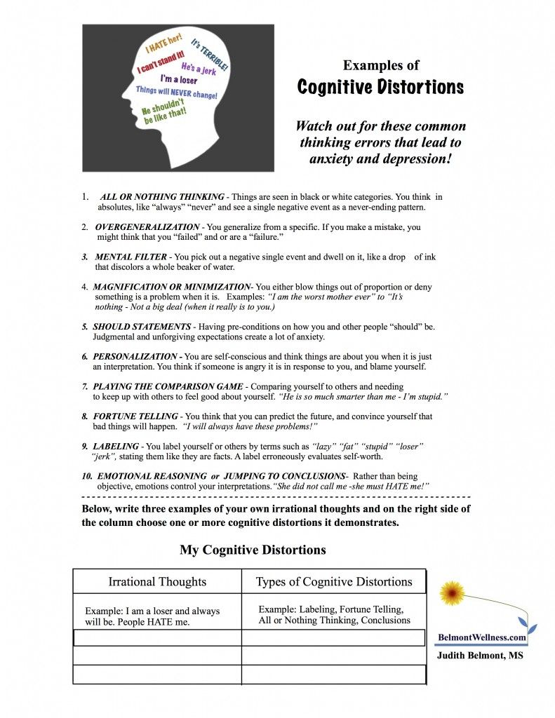 Worksheets Cognitive Restructuring Worksheet cognitive distortions actividades pinterest distortions