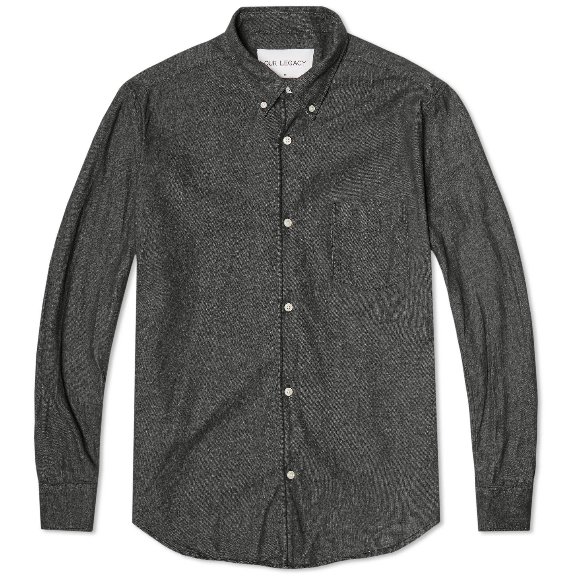 Our Legacy Everyman 1950s Button Down Shirt (Black Denim ...