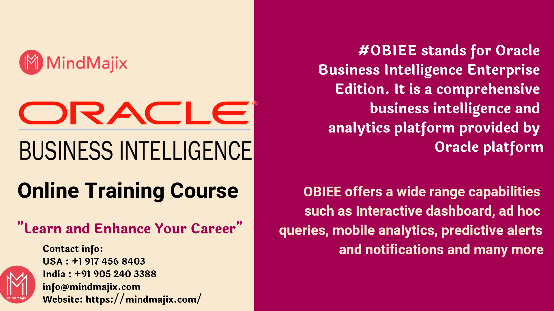 Obiee Online Training Course Mindmajix Online Training Online Training Courses Learning Framework