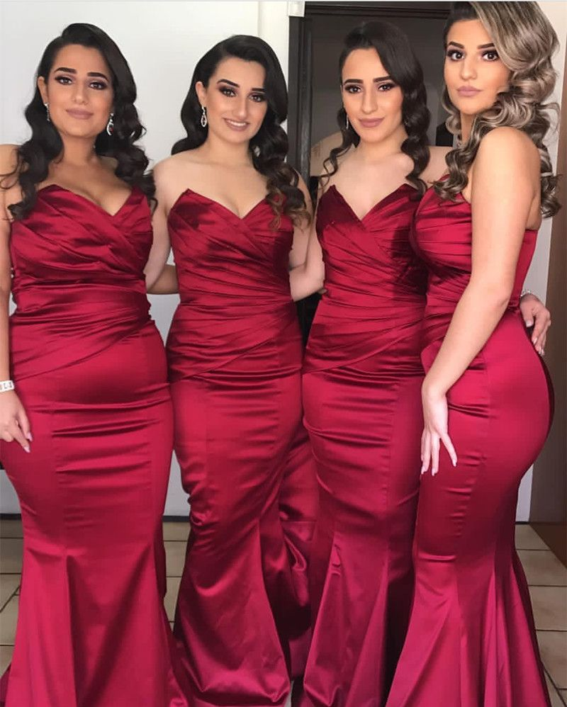 Strapless satin long burgundy bridesmaid dresses for wedding party