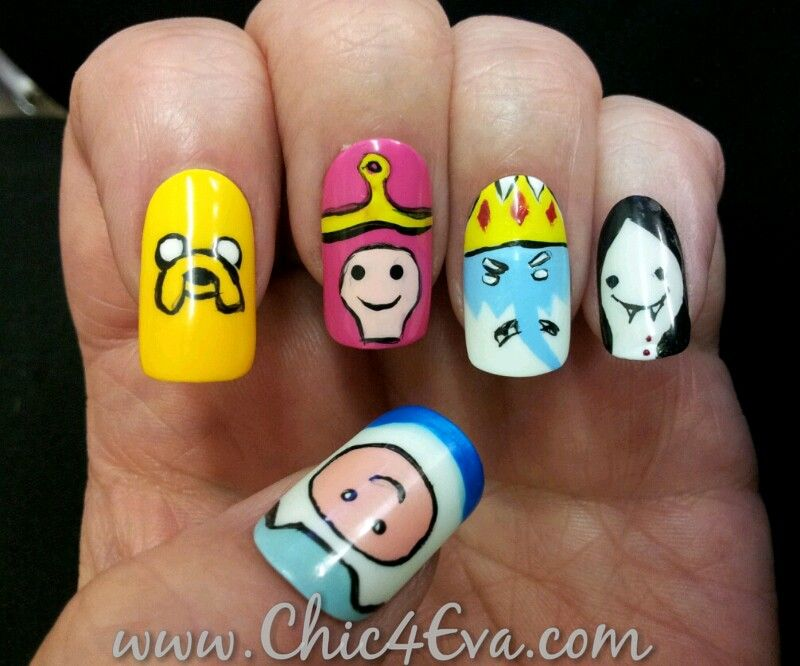 Adventure time nails nails pinterest adventure time nails this adventure time nail art is hand painted on to stick on nails for a party prinsesfo Gallery