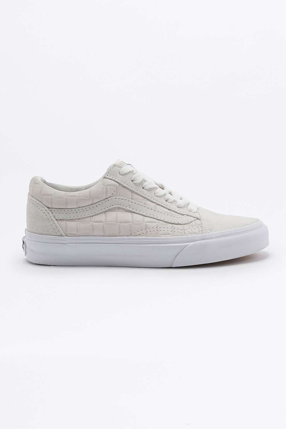 Vans Old Skool Off-White Checked Suede Trainers - Urban Outfitters