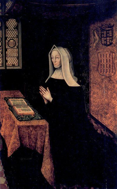 Lady Margaret Beaufort, c1500. This is the most famous portrait of Margaret (1443 to 1509), mother of King Henry VII of England; she kneels in prayer; the room is a superb representation of the typical royal 'closet', or prayer room. The portcullis, the Beauforts' emblem, is visible in the rondelle in the window on the left and in the tapestry on the right. The painting was presented To St John's College in 1598. (Cambridge University)