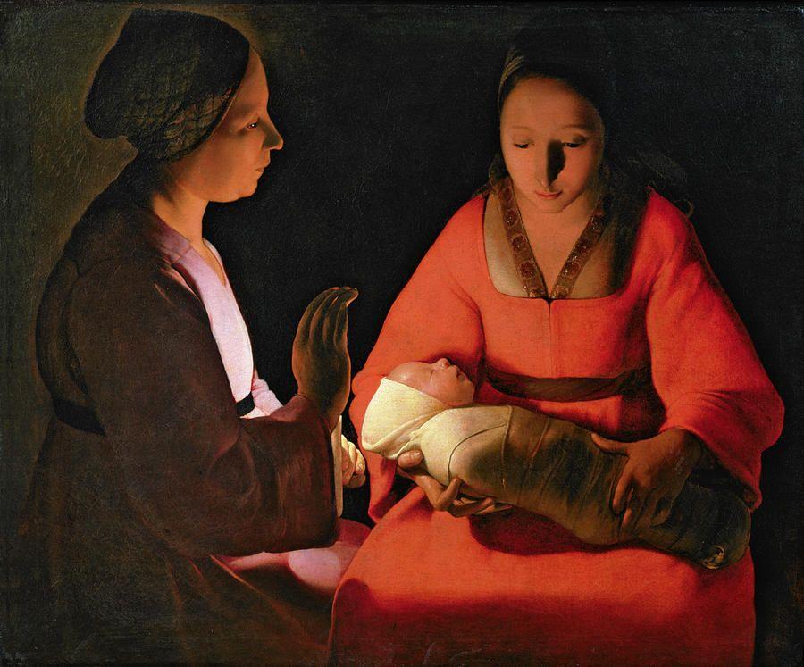 The New Born Child By Georges De La Tour Musee Des Beaux Arts Nativite Clair Obscur