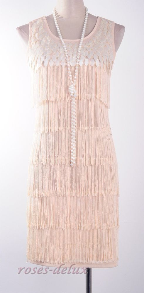 Gatsby 1920\'s Flapper Dress Gold Party Fringe Abbey Charleston Deco ...