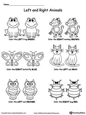 Left And Right Animals | Printable worksheets, Worksheets and Child