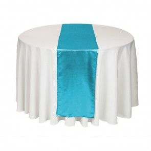 120 Round White Cloth With Caribbean Blue Runner Rental 1 25 Teal Table Turquoise Table White Table Cloth