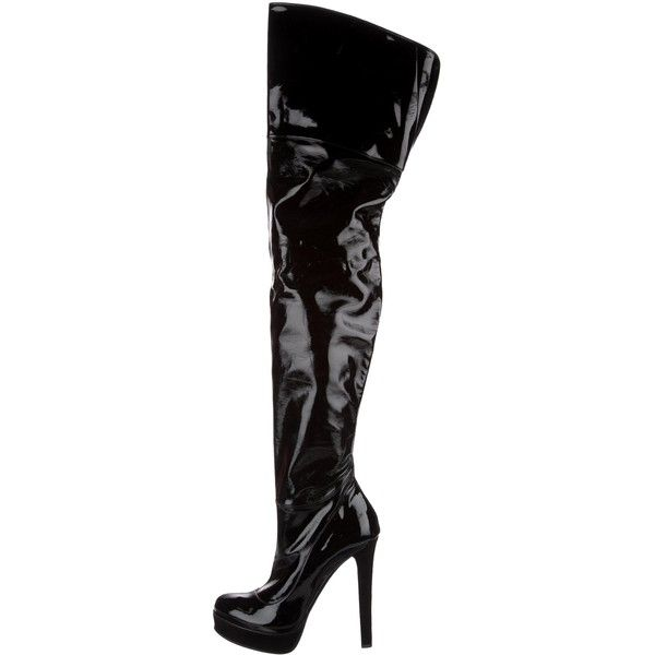 e636b38eb Pre-owned Gucci Patent Leather Thigh-High Boots ($505) ❤ liked on Polyvore  featuring shoes, boots, black, thigh-high boots, zipper boots, round toe  boots, ...