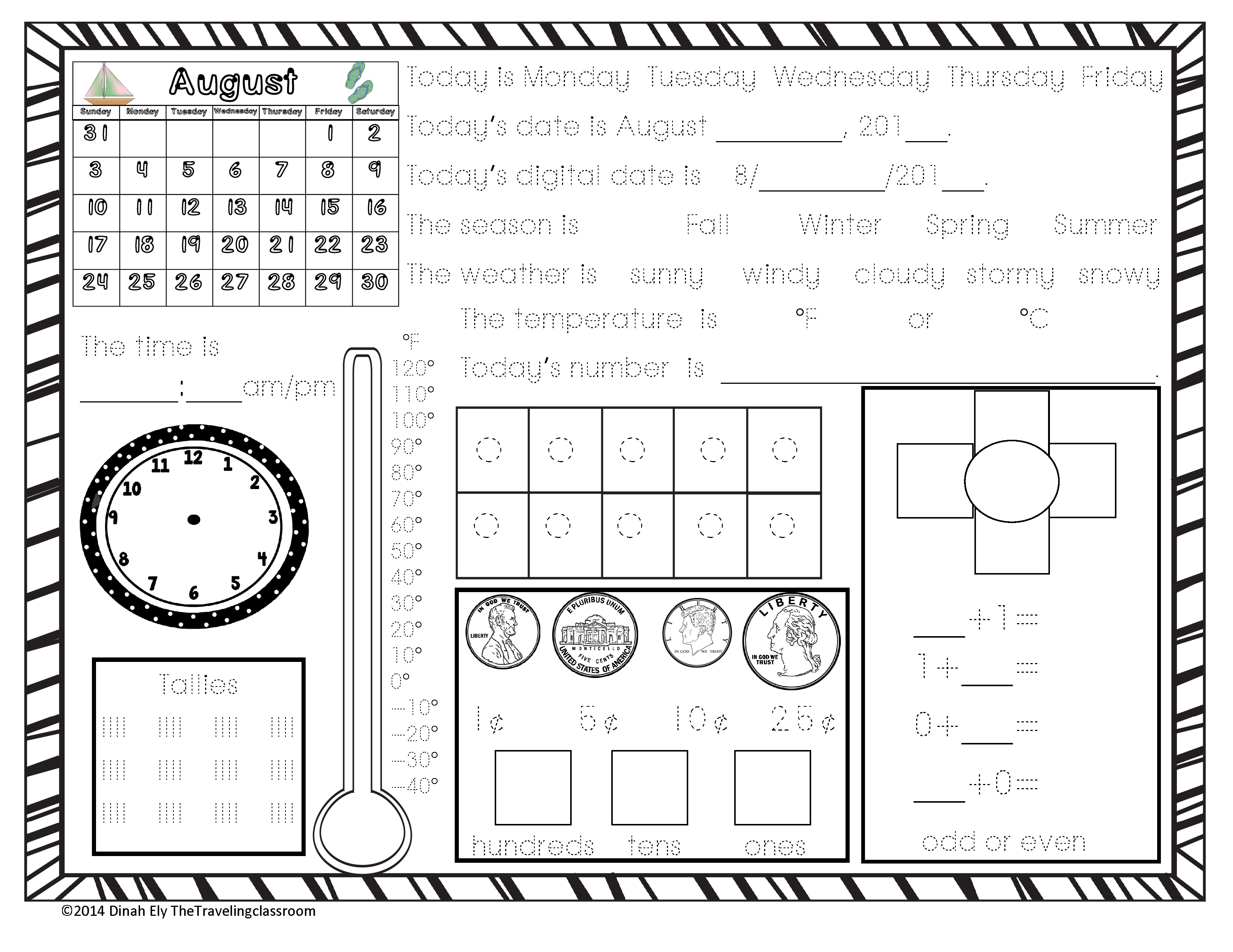 This is a FREE 1 page Demo of Calendar Time Worksheets ...