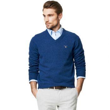 b374e5bd039d1a Gant Men's Solid Lambswool V Neck Jumper Blue Melange   Gant ...