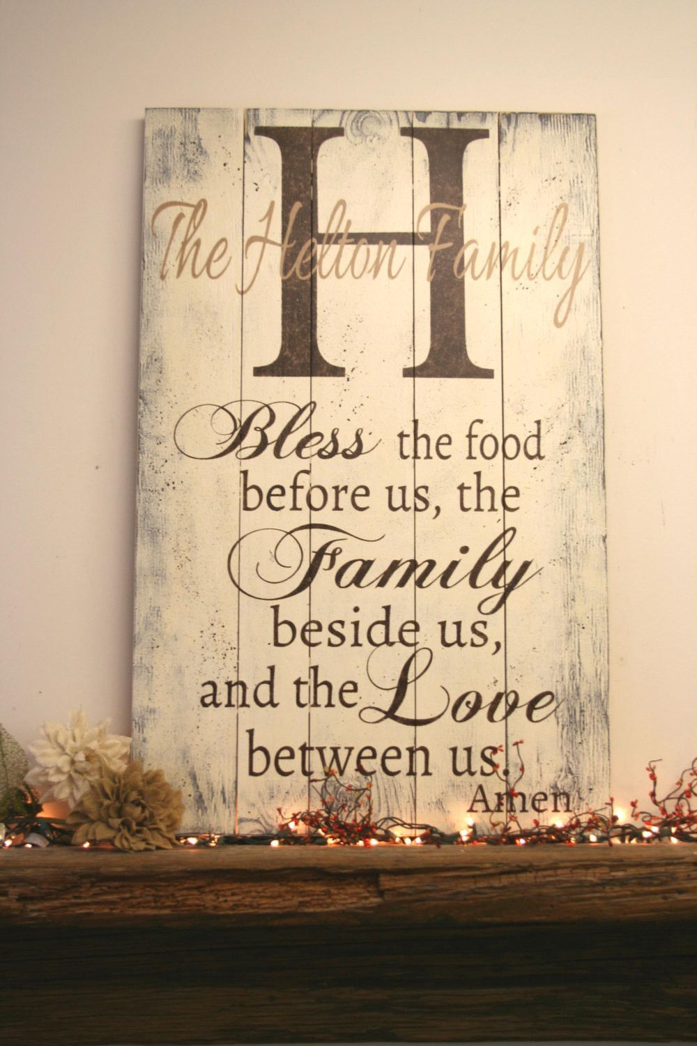 Bless the food before us personalized wood pallet sign dining room