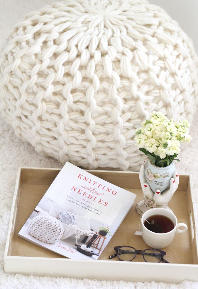 Arm Knit chunky pouf pattern from Knitting Without Needles | The ...