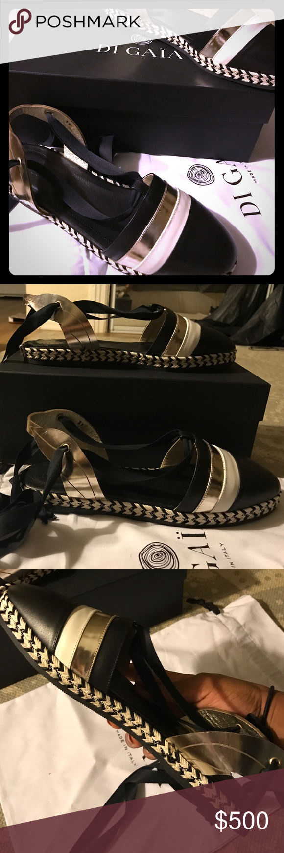 DI GÄIA Italian Sandals These sandals were inspired by the primal Mother Earth goddess when creating this luxury shoe. DI GAIA's collection is handcrafted from ultra soft Italian leather and features soft silk for wrapping around the ankle. DI GÄIA Shoes Sandals