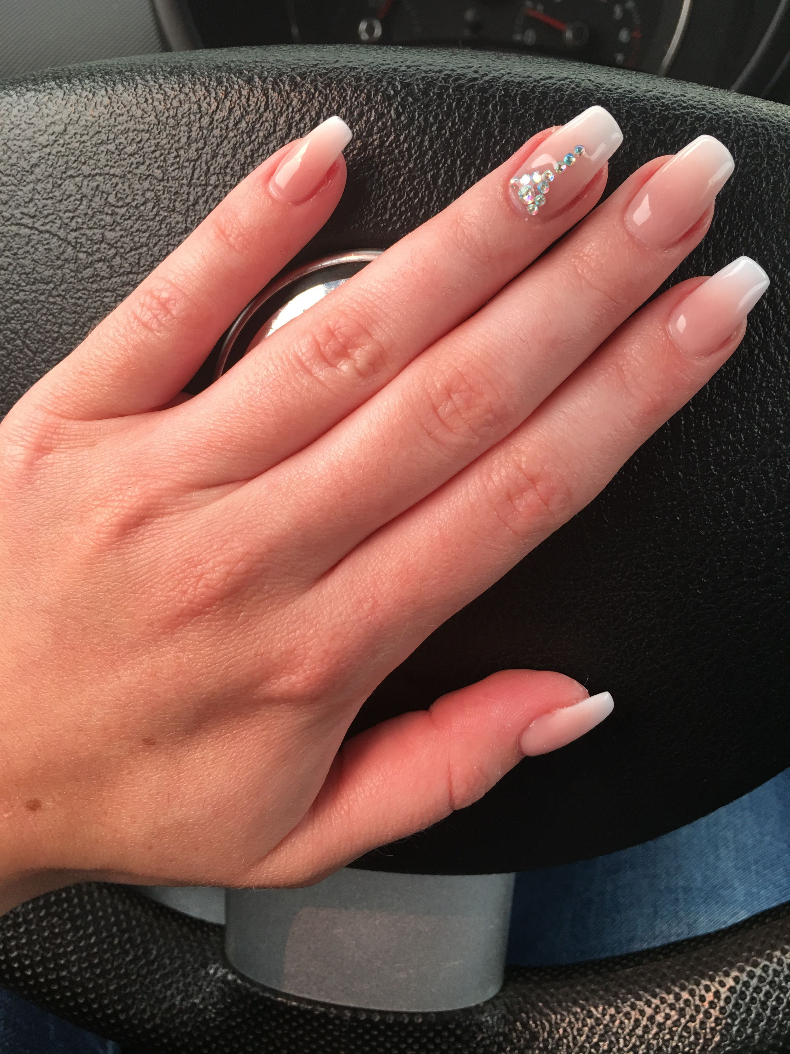 Ombre Nails Summer Nail Design Gems Diamonds Acrylics Natural Pink Square Shape Coffin Shape Nail Designs Summer Acrylic Nail Designs Summer Ombre Nails
