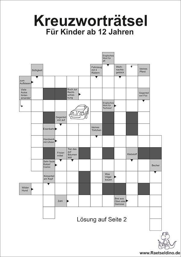 Kreuzworträtsel Schwedenrätsel mit Buchstaben für Kinder ab 12 ...