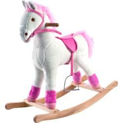 @Overstock - li>Materials: Wood polyester, fabric, nylon, vinyl  Hand-crafted with a wood core and stands on sturdy wooden rockers  Your little one will enjoy hours on this wonderful rocking horse from Happy Trailshttp://www.overstock.com/Sports-Toys/Happy-Trails-White-Pink-Plush-Rocking-Pony/6378789/product.html?CID=214117 $50.99