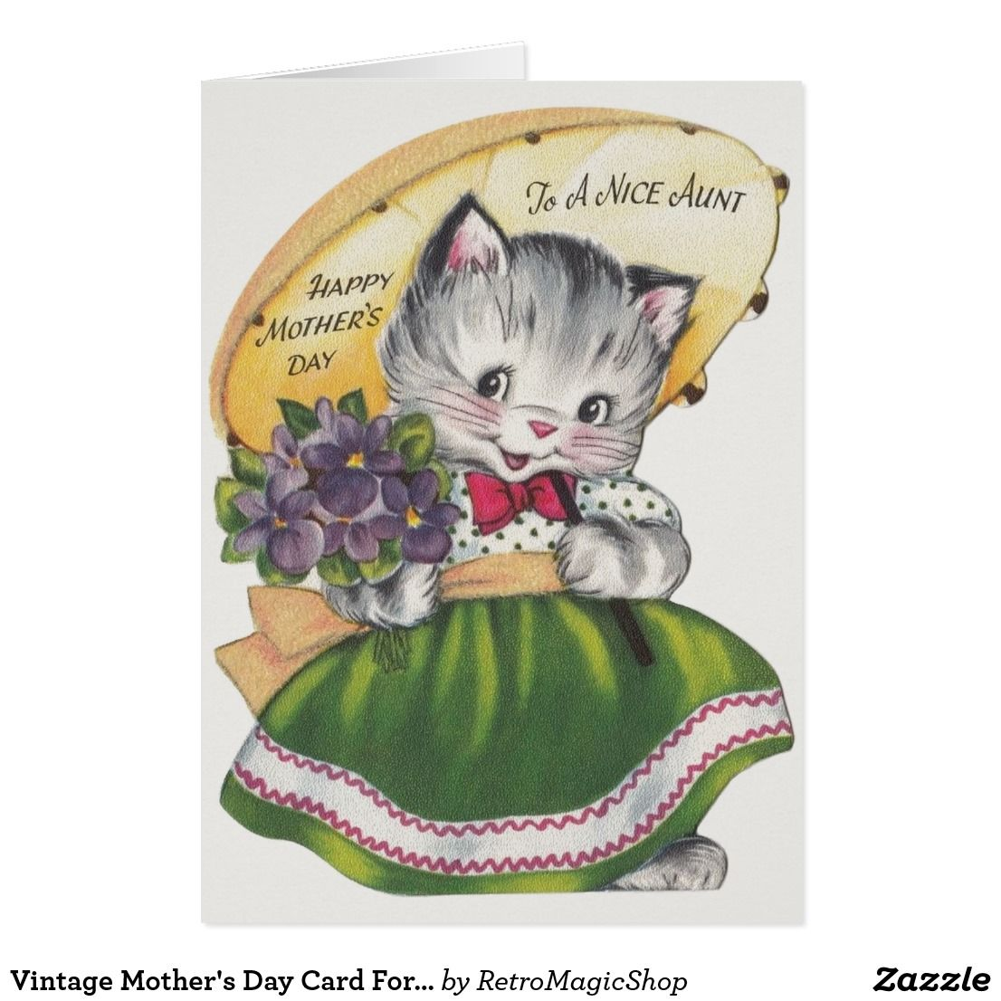 Vintage Mother's Day Card For a Nice Aunt