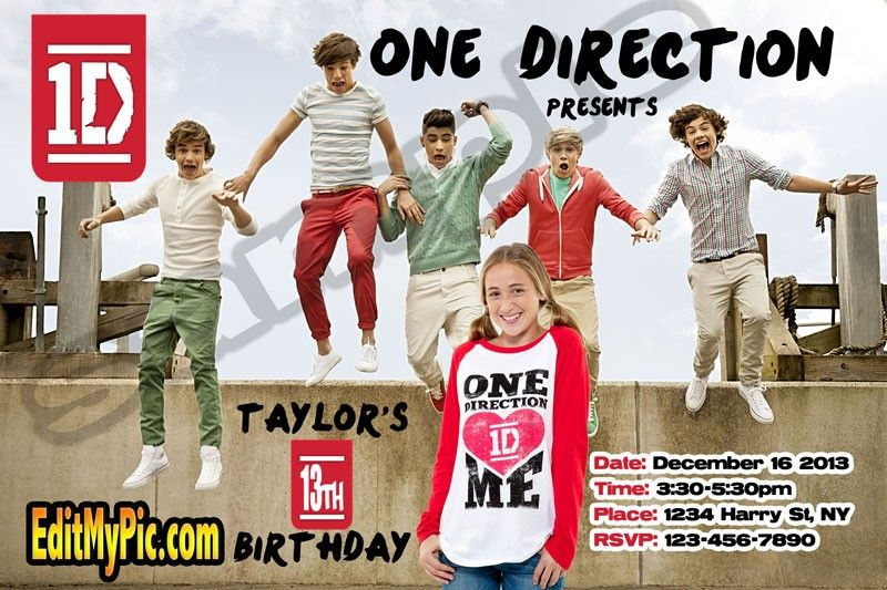 Top 25 ideas about Customized Printable Birthday Invitations on – One Direction Birthday Greeting