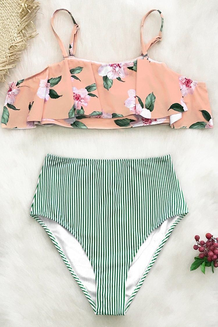 a764b96216739 Pink Floral And Green Striped Falbala Bikini in 2019 | CupShe 2019 ...