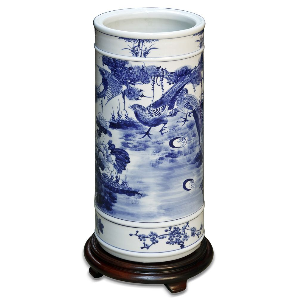 Hand painted blue white porcelain umbrella stand chinese hand painted blue white porcelain umbrella stand chinese ceramics flower and birds design hand painted reviewsmspy