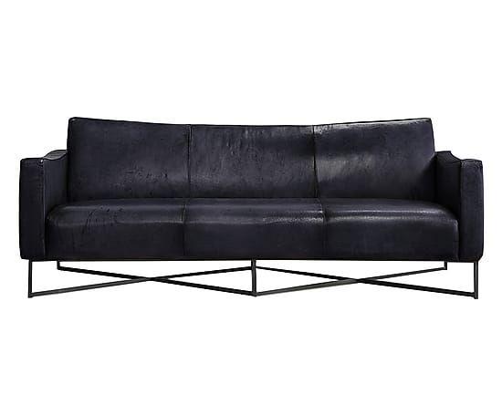 Divano 3 posti in pelle di bufalo Onda nero 215x80x80 cm