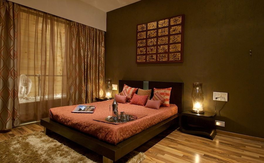 Elegant Stylish Interior With Wooden Material And Lamp Design Fascinating Ethnical Bedroom Decor Contemporary Residential APT In Mumb