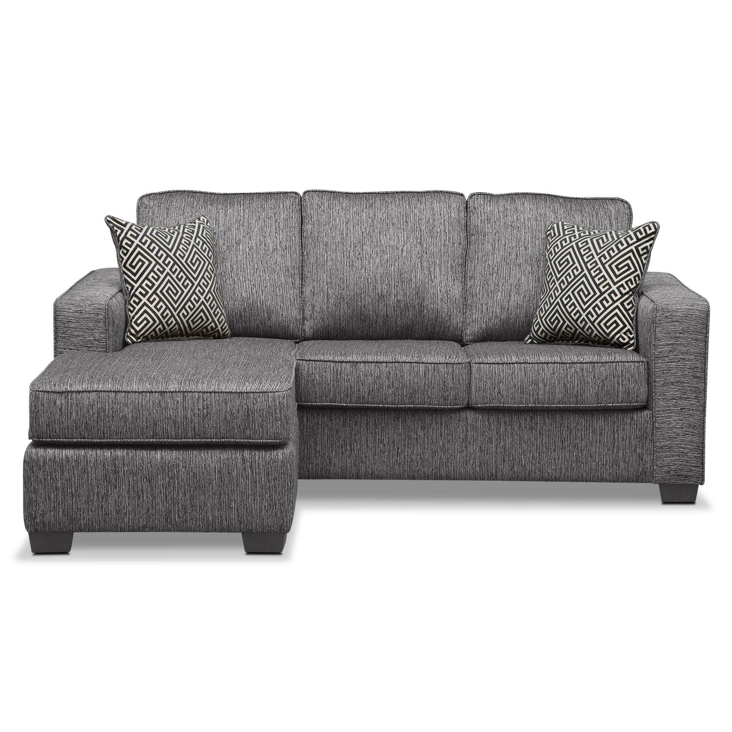 sterling sofa sectional leather and fabric charcoal queen memory foam sleeper w chaise
