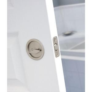 Accessible Bathroom Lock round satin nickel bed/bath pocket door lock | pocket door lock