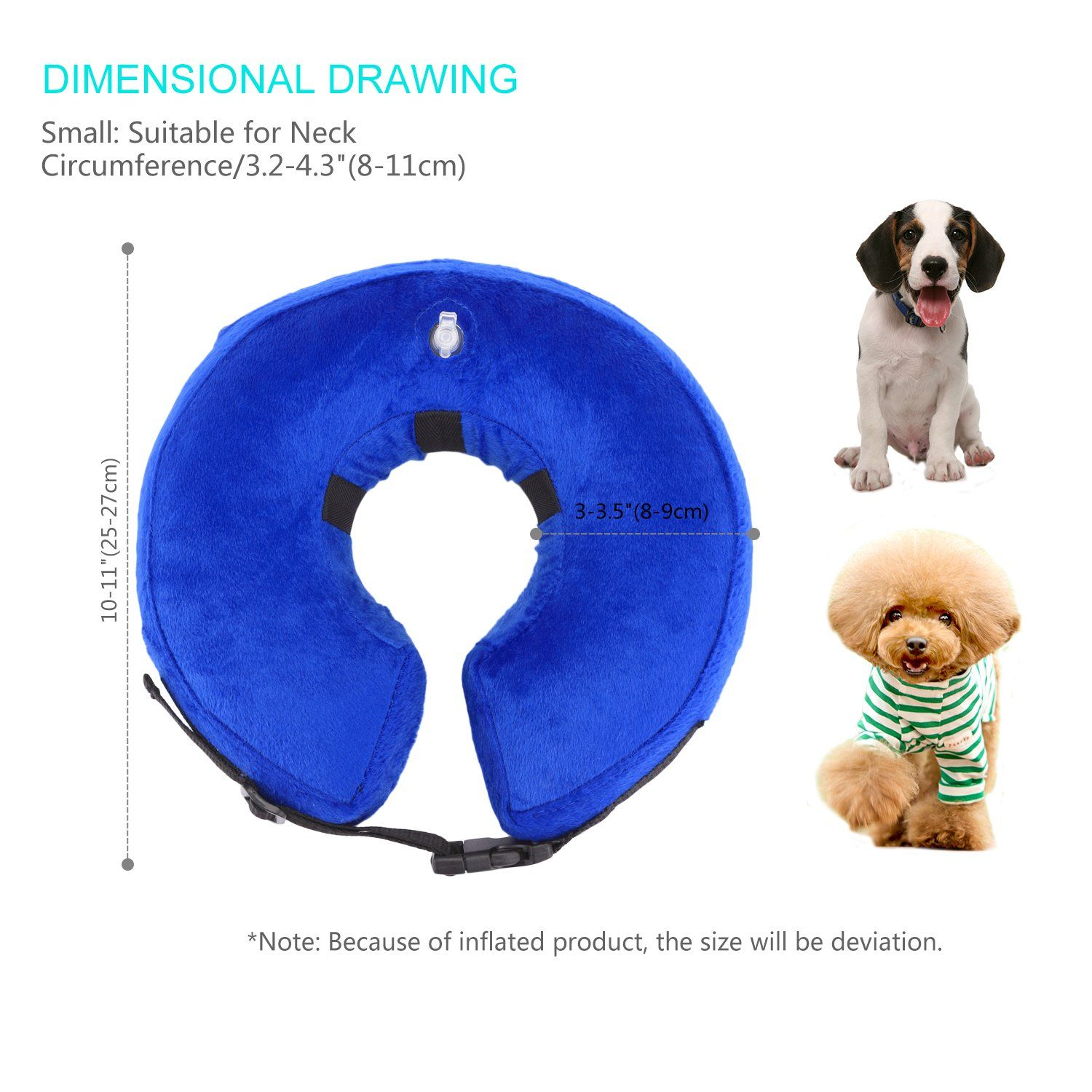 Petaz Inflatable Recovery Collar Dog Elizabethan Collar Postoperative Wound Healing Comfortable Soft Ecollar For All Size Dogs Cats M Cat Collars Dog Cat Cats