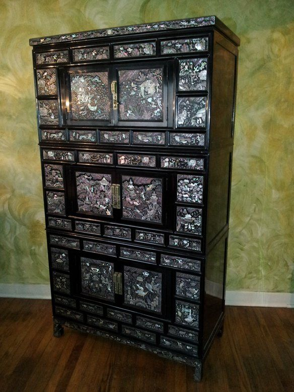 Korean Armoire With Mother Of Pearl Inlay Made In Korea Vintage Three Section Black Lacquered Inventory Number A028