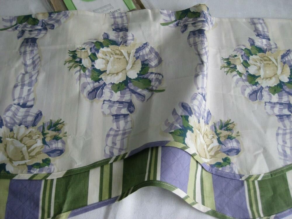 Waverly Fairfield Valance Ribbon Rose In Lavender And Green Waverly Cottage Ribbon Roses Waverly Valance