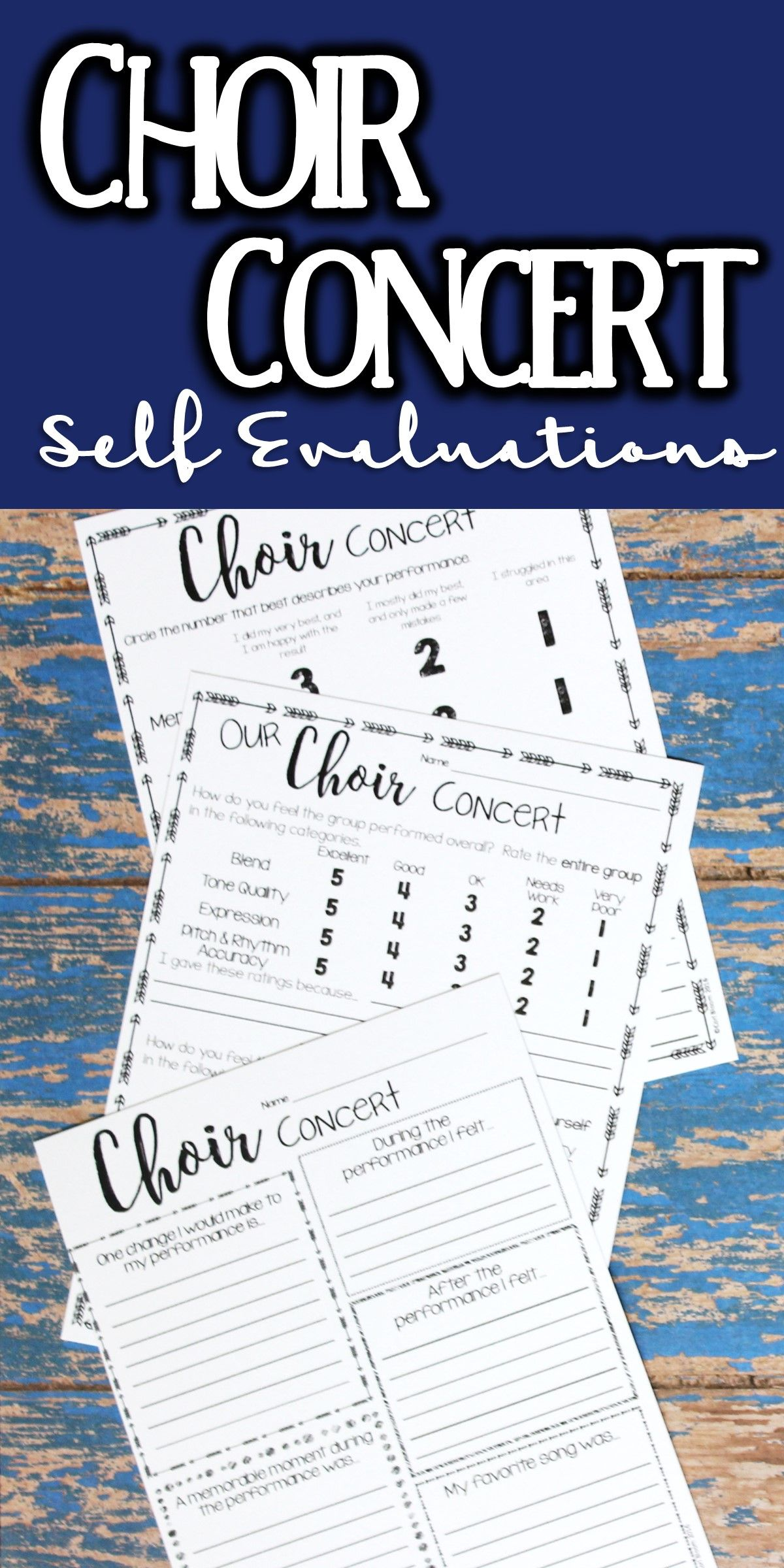 Music Performance Self Evaluation Worksheets Choir