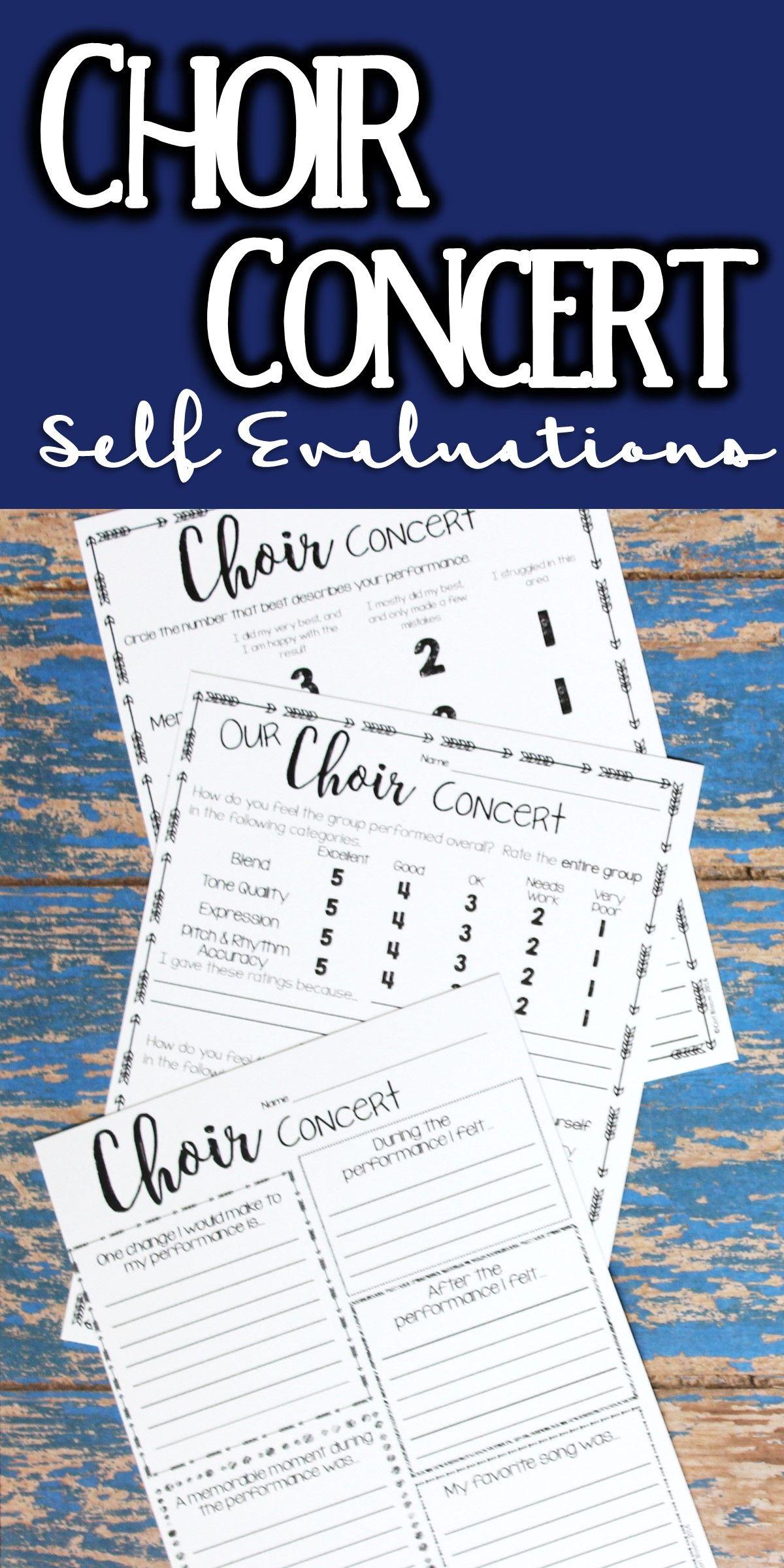 Music Performance Self Evaluation Worksheets Choir