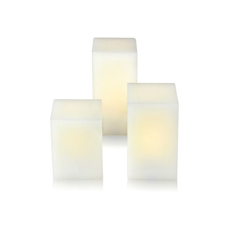 Lango Battery Operated LED White Wax Candles - Set of 3 with timer