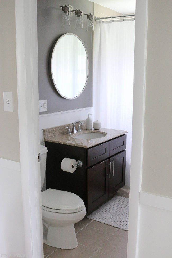 Just A Few Small Tweaks Completely Updated This Bathroom E Love The Diy Shiplap Dark Gray Walls And Round Mirror