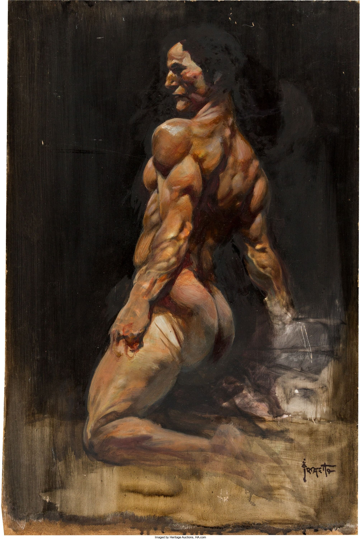 Frank Frazetta - Man\'s Torso Painting Original Art (undated ...