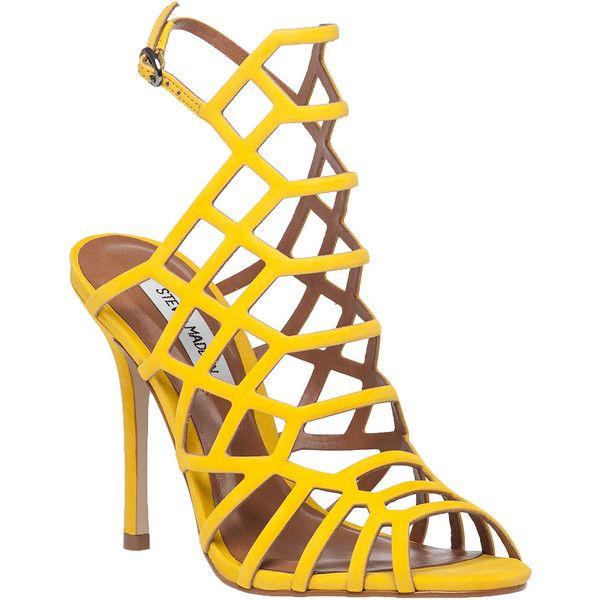 89cf8576e25 STEVE MADDEN Slithur Yellow Suede Sandal ($45) ❤ liked on Polyvore ...
