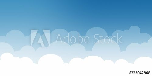 Cute white cloud on bright blue sky bottom border seamless pattern , #Sponsored, #bright, #blue, #cloud, #Cute, #white #Ad